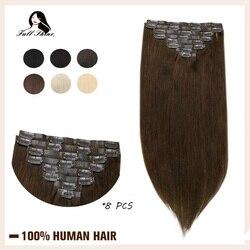Full Shine Clip sin costuras en extensiones de cabello humano 8 Uds. 100g cabello rubio Pu Clip on extensión Color puro máquina de trama de piel Remy