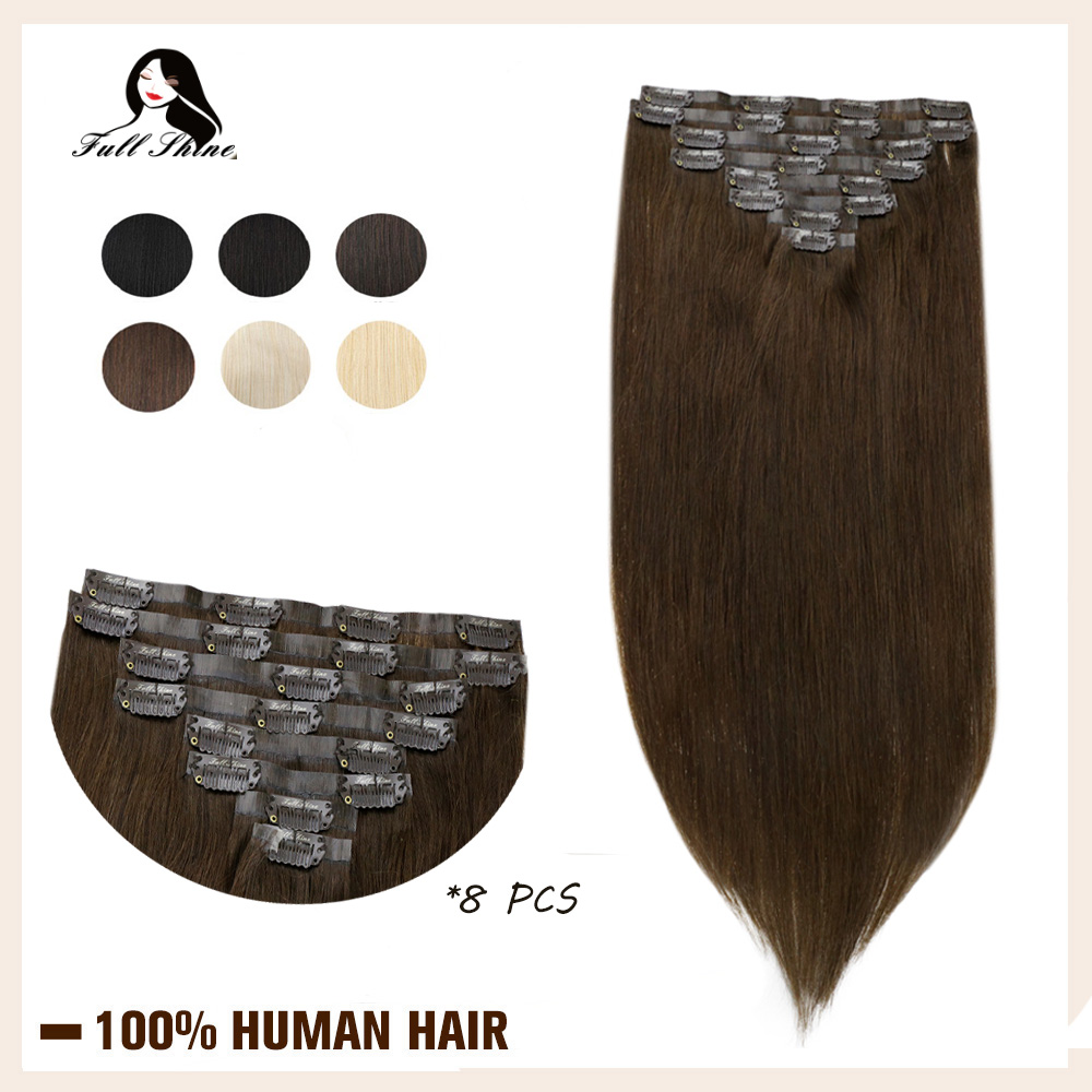 Full Shine Seamless Clip In Human Hair Extensions 8Pcs 100g Blond Hair Pu Clip On Extension Pure Color Skin Weft Machine Remy