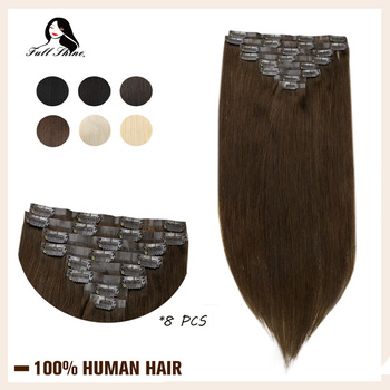 Full Shine Seamless Clip in Human Hair Extensions 8Pcs 100g Blond Hair Pu Clip on Extension Pure Color Skin Weft Machine Remy full shine balayage color 3 8 613 hair weft 100g hair weave sew in ribbon hair 100