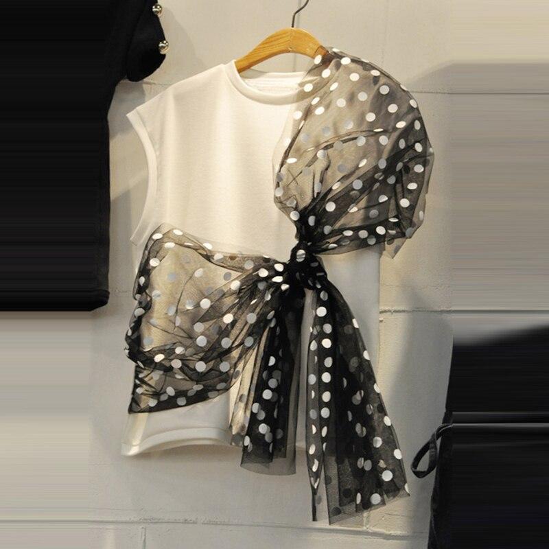 Korean-Style Tshirt Woman 2020 Summer New Bow Mesh Panel Lace-up Polka Dot Round-Neck T-shirt Women's Sleeveless Top T Shirts