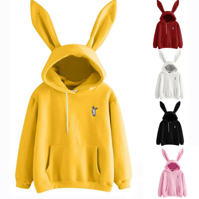 Ladies Womens Sweatshirt 3D Hoodie Pullover Hoody Lovely Fashion Cotton Plain Design Jumper Casual
