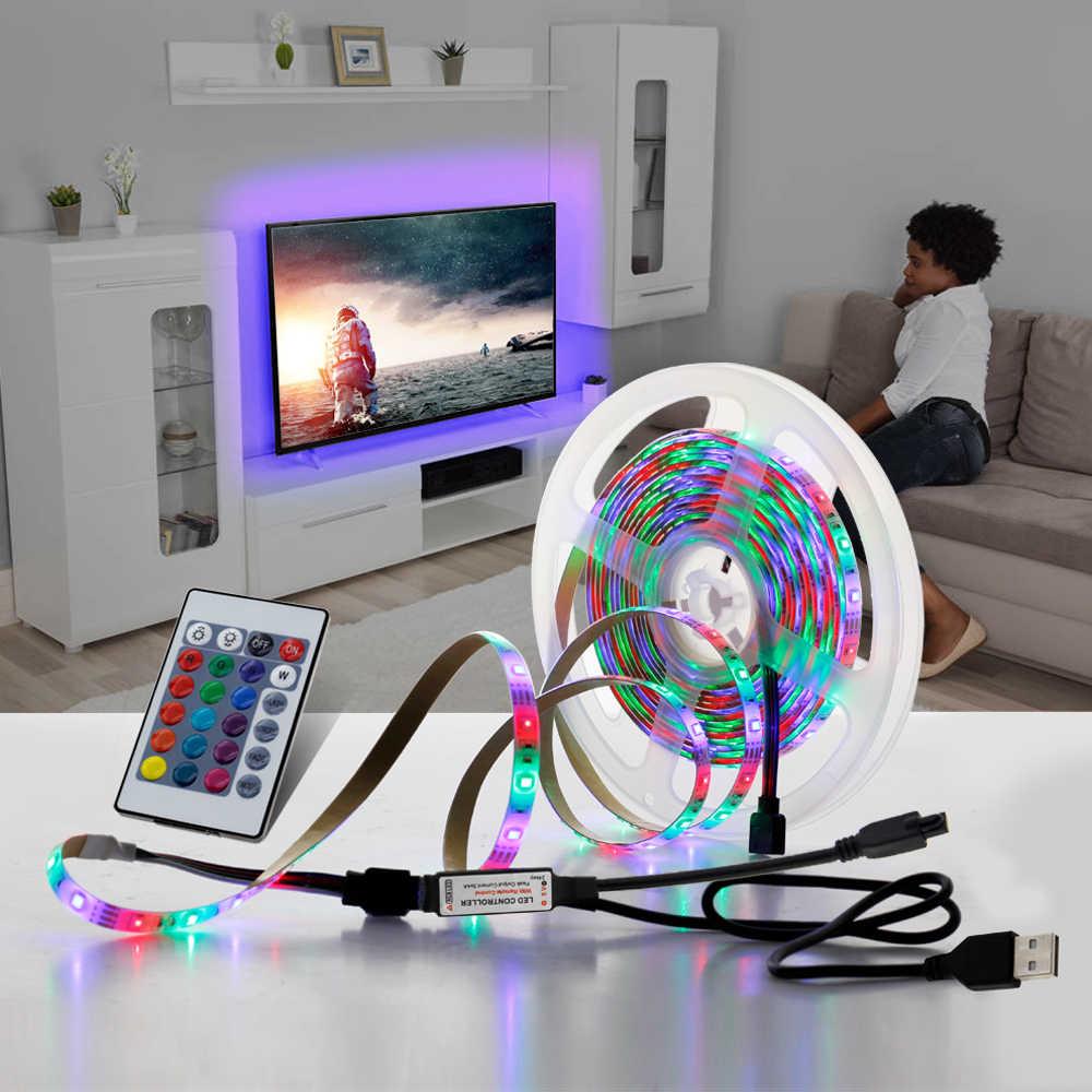 5V Tira CONDUZIDA Luz USB 2835SMD RGB Diodo Fita 0.5M 1M 2M 3 3M Néon Flexível fita para Tela Backlight TV PC Iluminação de Fundo