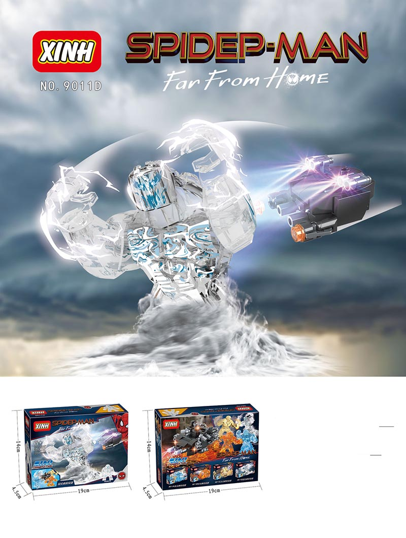 New Sale LegoINGlys Super Heroes Figure Spider-Man Far From Home Water Fire Earth WindElemental Model Toy Children Gift 9011D