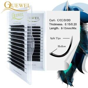 Image 1 - Quewel Flat Lashes Extension For Professionals Ellipse Flat Lash Split Tip profession Soft Silk Quewel Flat Eyelash C/D Curl