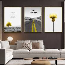 Scenery Picture Home Decor Nordic Canvas Painting Wall Art Modern Yellow style Landscape Posters and Prints for Living Room nordic lavender sea landscape posters and prints canvas painting flower scandinavian wall art picture for living room home decor