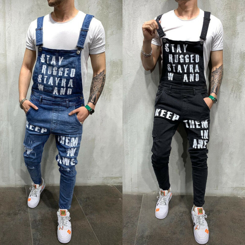 Men Jeans Fashion Denim Pencil Pants Ripped Bib Jumpsuit Suspender Overalls US