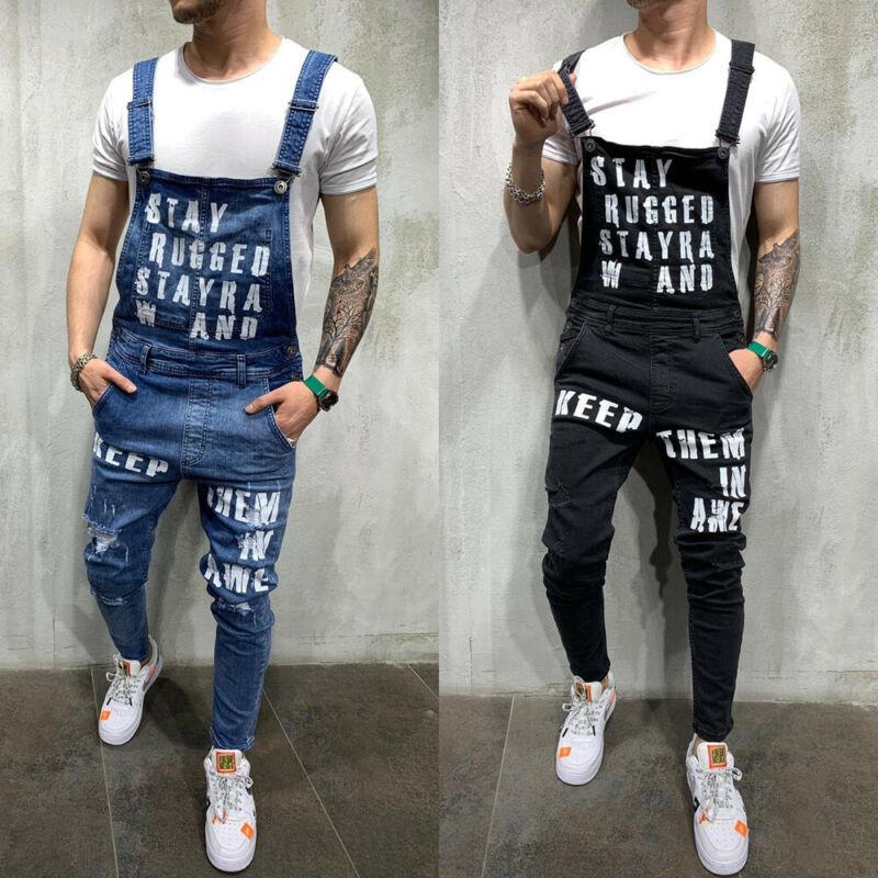 Men Jeans Fashion Denim Pencil Pants Ripped Bib Jumpsuit Suspender Overalls US