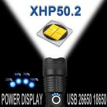 Самый мощный xhp502 светодиодный фонарик xhp50 Перезаряжаемый