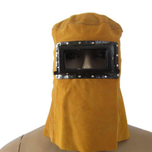 Leather Electric Welding Work Hood Helmet Mask Full Face Protector Cap