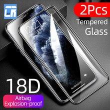 Protecteur d'écran, 2 pièces, en verre trempé 18D, avec Airbag, pour iPhone SE 2 X XR XS MAX 11 12 Pro Max 8 7 6 Plus