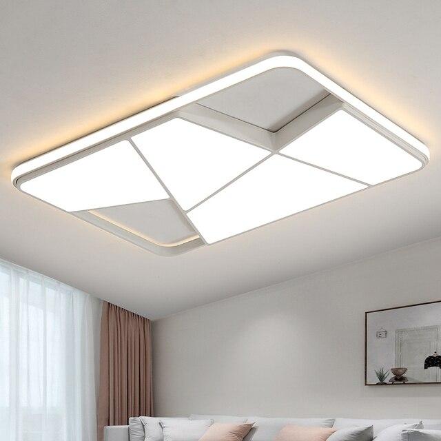 Rectangle modern led ceiling lights for living room bedroom study room white or black 95-265V square ceiling lamp with RC 1