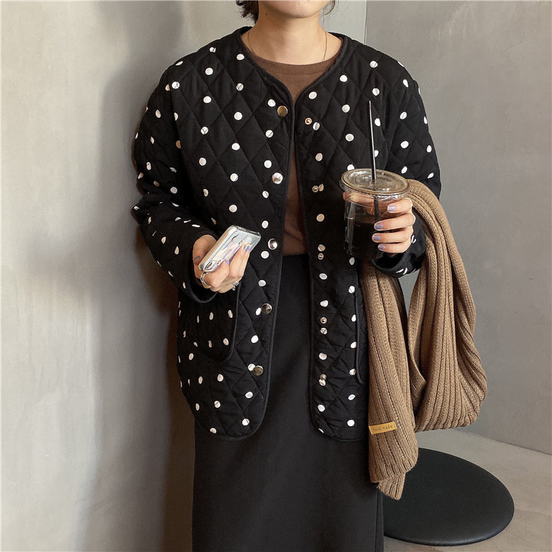 Alien Kitty Black High Quality Polka Dots Outwear 2020 Winter Girls Thicken All-Match Warm Tops High Quality Casual Loose Coat