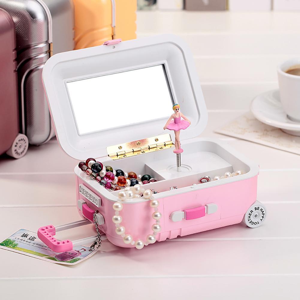 Luggage Design Ballerina Girl Music Box Jewelry Storage Organizer Kids Gift New