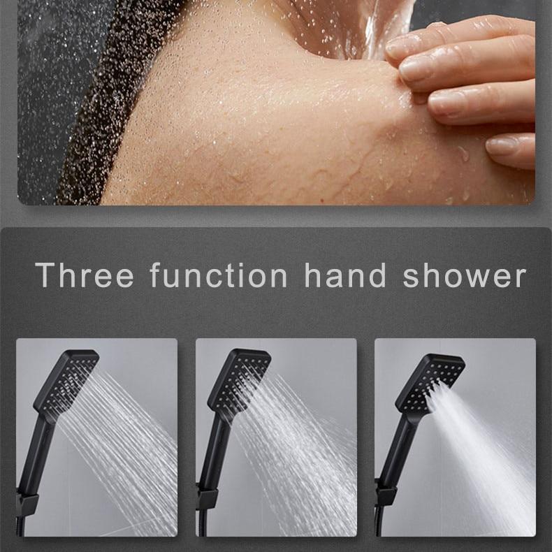 lowest price Hot and Cold Digital Shower Set Faucet Bathroom Shower System Black Gold Shower Faucet Square Shower Head  Bath Shower System