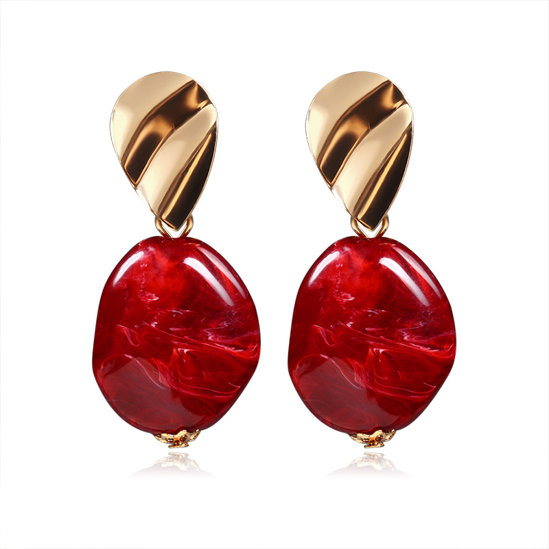 Hbea04b3c52384bed985143b7d9759e88V - New Statement Drop Earrings For Women Fashion Gold Earrings Acrylic Geometric Red Dangle Earring Wedding Brinco Jewelry