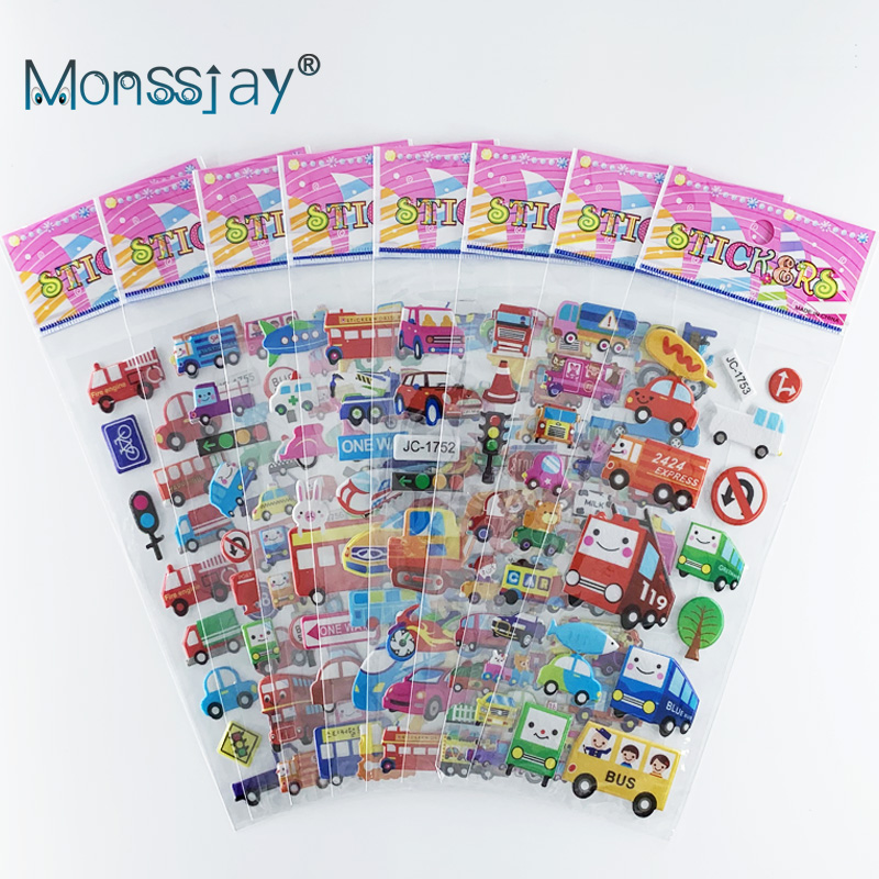 8 Sheets/set car bus transportation vehicle cognition sticker Children cute 3D learning stickers DIY toy for boys gift