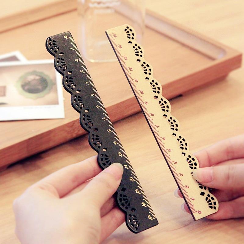 1 Pcs Korea Zakka Kawaii Cute Stationery Lace Brown Wood Ruler Sewing Ruler Office School Accessories