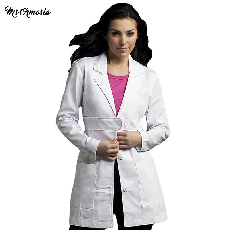 MSORMOSIA Clothing Nurse Uniform Medical Service Coat White Medical Clothing Protect Lab Coats Long-sleeve Laboratory Uniform