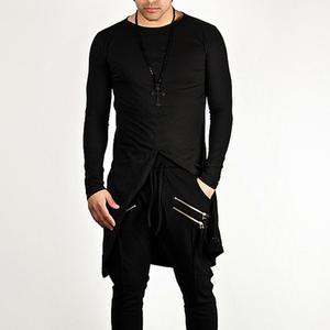 Image 5 - Новейший мужской ночной клуб, DJ певец, панк рок, Женский сценический костюм, мужские Длинные Топы в стиле Харадзюку, футболки в уличном стиле