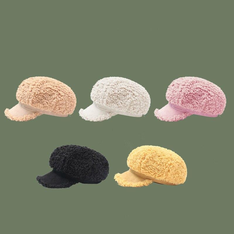 2022 New Fashion Women Baseball Hat Nylon Lamb Hair Solid Autumn Winter Snapback Caps Girls Outdoor Street Casual Warm Caps