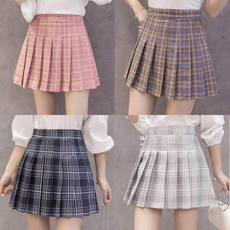 2019 New Style CHIC High-waisted A- Type Skirt Ulzzang Hipster Pleated Skirt Short Skirt Plaid Skirt Women's Summer