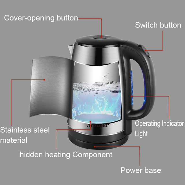 1.8L Electric Kettle Stainless Steel Kitchen Appliances Smart Kettle Whistle Kettle Samovar Tea pot Thermo pot Gift 220V Sonifer 4