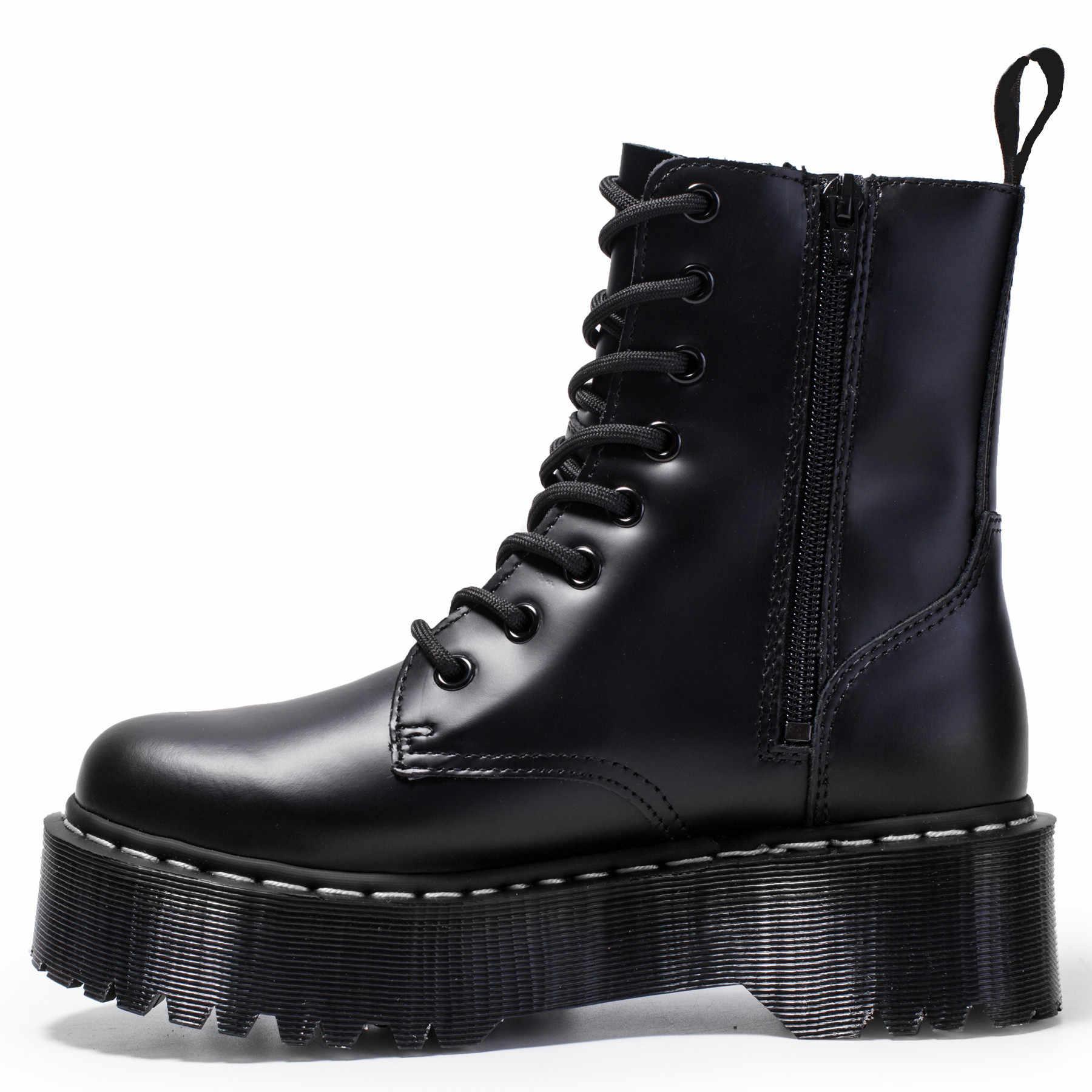 Size34-41 Chun Xe Máy Cho Nữ Thu Đông 2019 Thời Trang Giày Mũi Tròn Cột Dây Chiến Đấu Giày Nữ