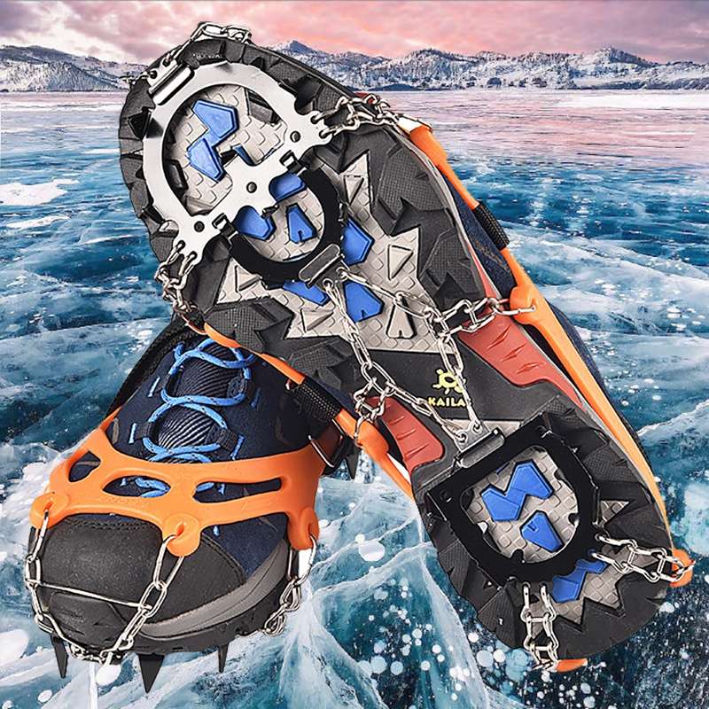 1 Pair 12-Spikes Crampons Traction Snow Grips Wear-resistant Durable Anti-slip Safe Protect For Hiking Climbing