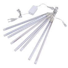 Waterproof 3 colors EU US Plug Garland 8 Tubes LED Meteor Shower Rain string light 50cm 30cm Icicle Snowfall Xmas decoration(China)