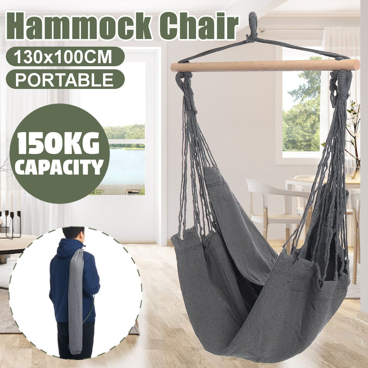 Luxury 1-2 Person Portable Outdoor Camping Hammock High Strength Fabric Hanging Bed Hunting Sleeping Swing With Pillows