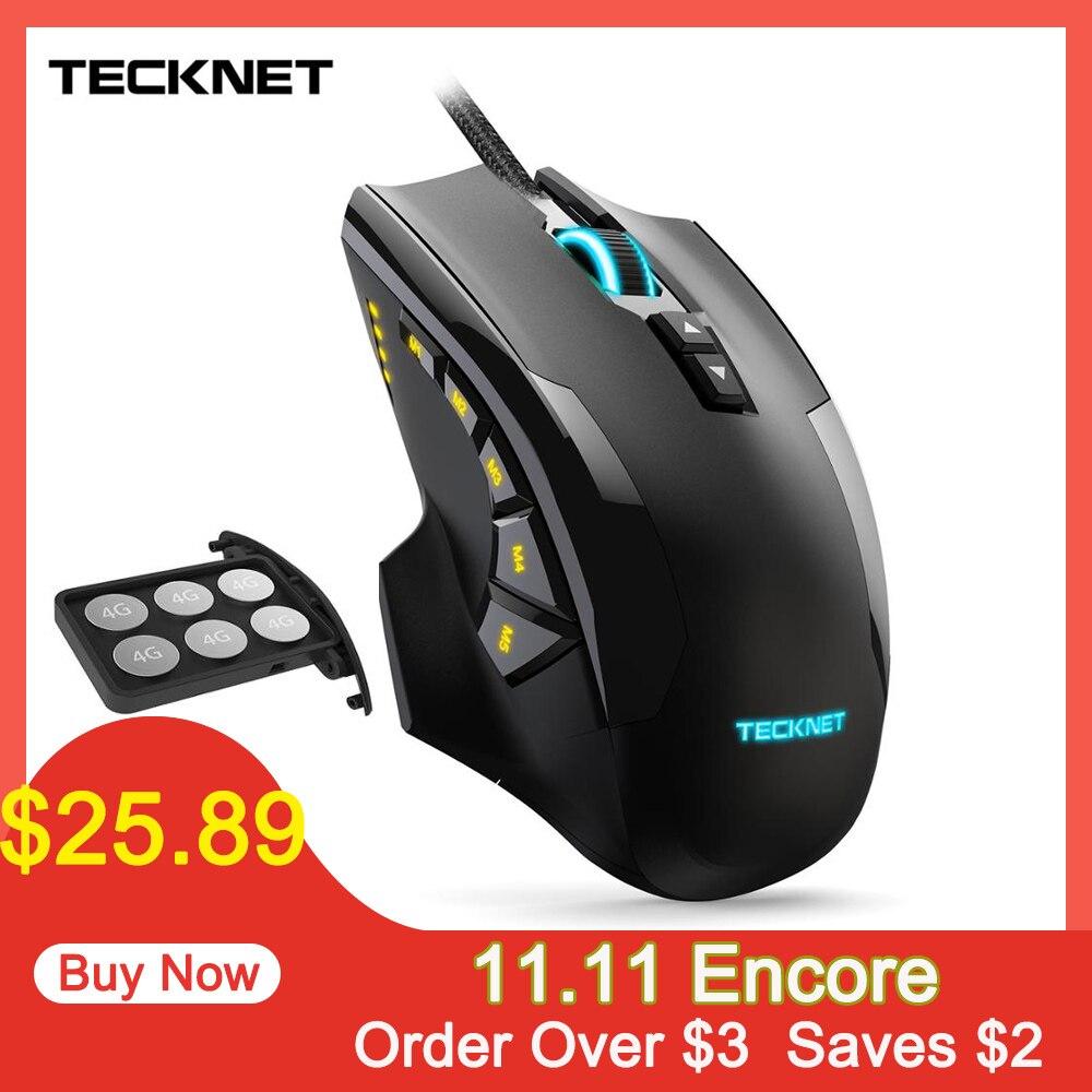 Tecknet 16400 dpi gaming mouse m009 mouse laser 10 programável macro rgb backlight 3 modos de luz led com fio mmo computador ratos