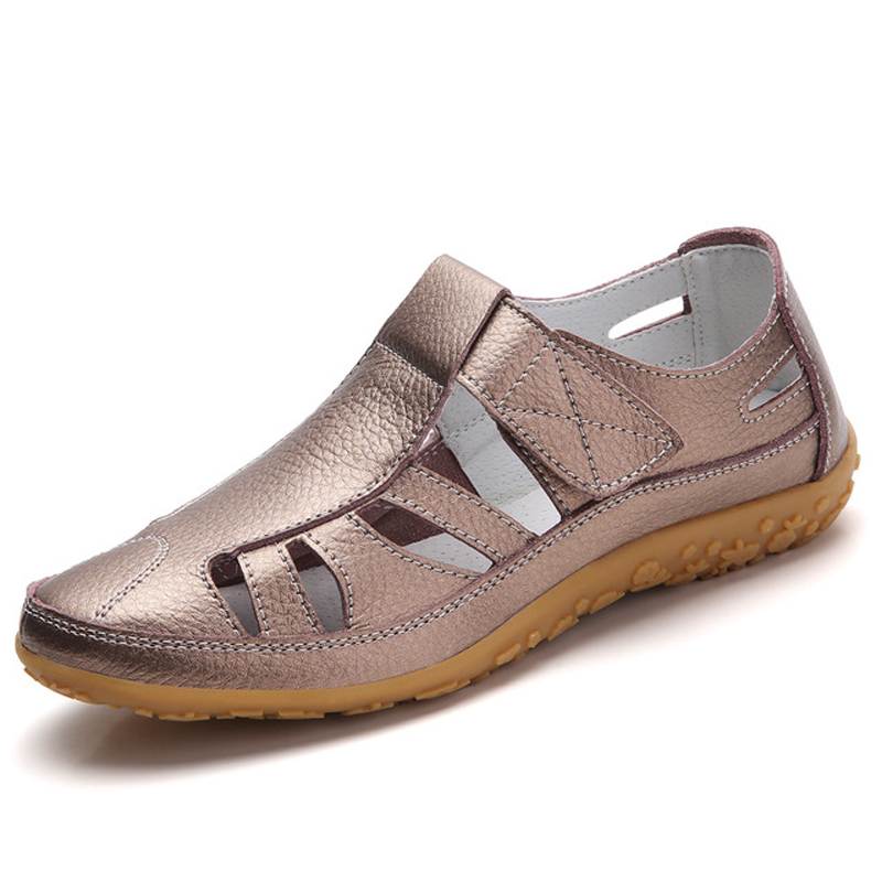 Gladiator Sandals Shoes Genuine-Leather Casual Soft-Bottom