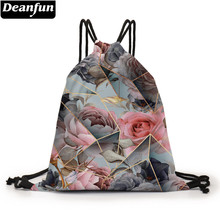 Deanfun – sac à dos à cordon pour femmes, sac à cordon imprimé en 3D, marbre Rose, cadeaux élégants, D60449