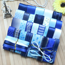Blue Series Ribbon Suit Satin Edge Organza Set Tulle Fabric DIY Sewing One Yard Handicraft Accessories
