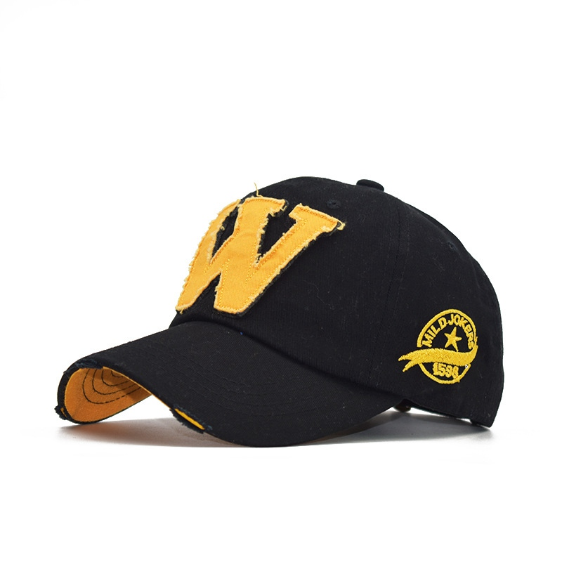 New Fashion W Letter Baseball Cap Man Woman Summer Adjustable Snapback Sun Hat Old Worn Cap