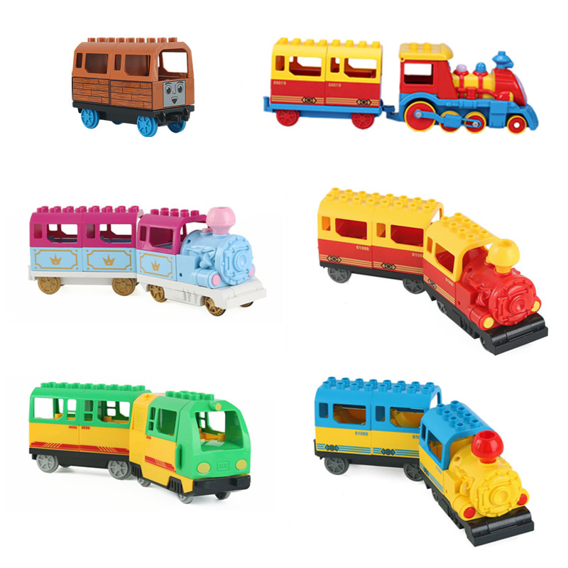 Diy Duploed Train Battery Power Function Building Blocks Railway Track Vehicles Toys For Children Educational Bricks Kids Gift