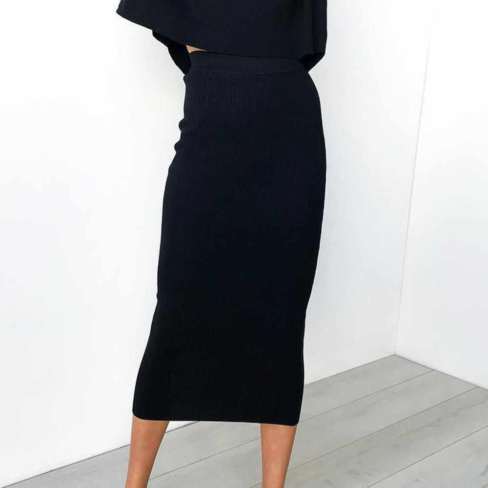 נשים סרוג Bodycon ארוך חצאית אופנה סקסית שחור לבן גבוה מותן עיפרון חצאיות נשי אלסטי חצאיות מועדון ללבוש #1216