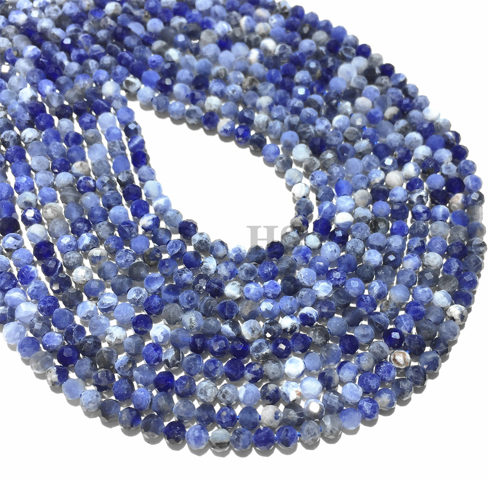 3mm Grade Faceted Sodalite Beads Natural Stone Beads DIY Loose Beads For Jewelry Making Wholesale