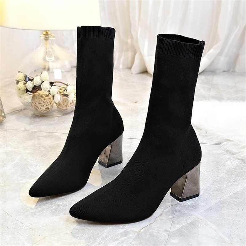 Женские ботинки; Черные ботильоны; модные осенне-зимние тянущийся носок; пикантные ботинки на высоком массивном каблуке; женская обувь с острым носком