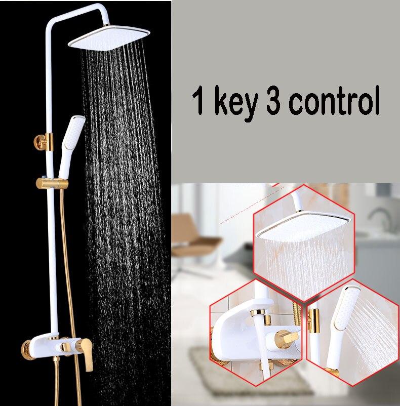 Hbea1875527484736a50ef1b278d1ea02n Shower Set SDSN White Gold Bathroom Shower System Quality Copper Brass Bathtub Faucet Rainfall Shower Head Spa Bath Shower Sets
