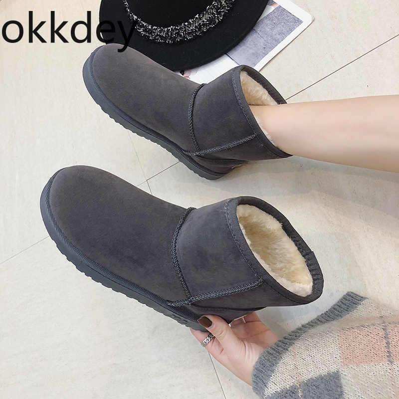 Okkdey botas de nieve mujer cálido de piel corta de invierno de felpa tobillo más tamaño plataforma señoras zapatos de gamuza cómodo interior de las mujeres botas