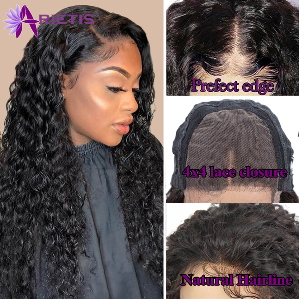 Water Wave 4x4 Closure Wig  Human Hair Wigs 150% Density Lace Closure Wigs For Black Women Brazilian Remy Pre-Plucked Lace Wig