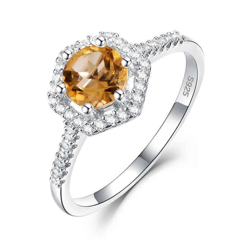 Kuololit อัญมณี Citrine ธรรมชาติแหวนผู้หญิง 925 เงินสเตอร์ลิงหินกลมแหวนงานแต่งงานแหวนหมั้นเครื่องประดับของขวัญ Fine
