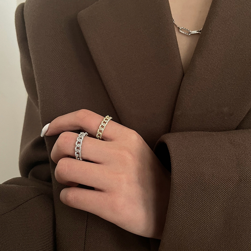 MENGJIQIAO Hot Sale Korean Delicate Zircon Know Chain Ring For Women Gilrs Adjustable Metal Finger Knuckle Rings Jewelry Gifts