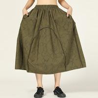 LANMREM Green Abstract Twig Print Pocket Elastic Waist Loose Plus Woman Skirt Casual Joker Simple Fashion 2019 Autumn New TV914
