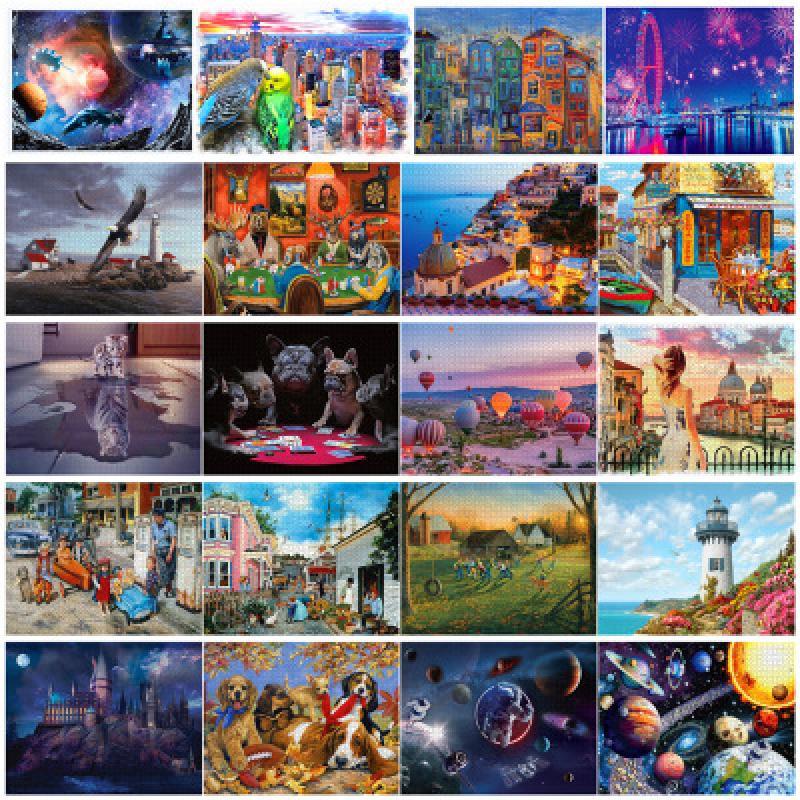 지그 소 퍼즐 1000 조각 69*51 Cm 성인 풍경 지그 소 퍼즐 어린이 교육 완구 침실 장식 스티커