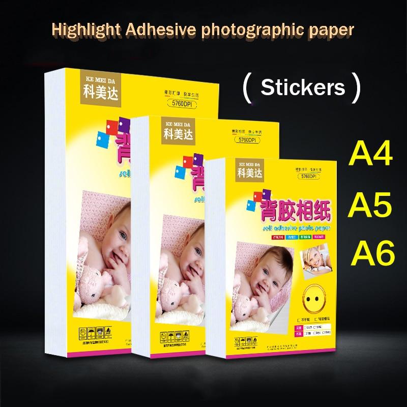 Iluminação fotográfica 50 peças, adesivo a4/a5/a6 auto-adesivo impressão de jato de tinta papel foto adesivo foto papel de papel