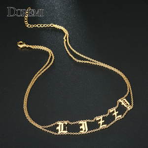 Image 3 - DOREMI 2019 Old English Numbers Necklace Name Custom Choker Personalized Letter Necklace for Girl Gothic Chic Jewelry