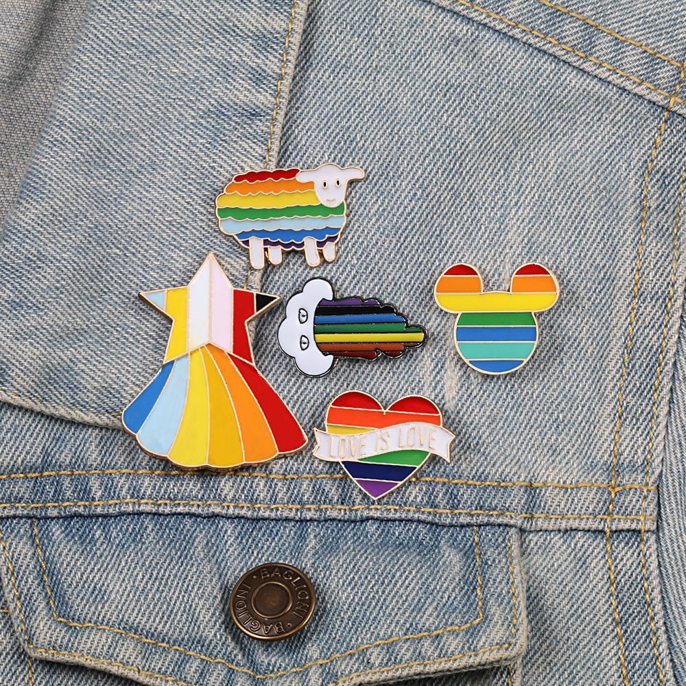 Rainbow Color Brooch Pins