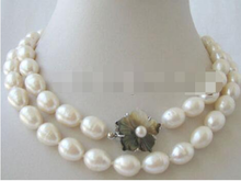"P2915 - 32"" 9-10mm natural white baroque freshwater pearl necklace - shell clasp(China)"